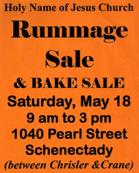 May 18 Rummage Bake sale Schenectady