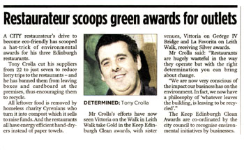 Vittoria coverage in Evening News