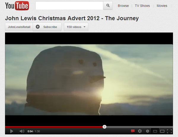 Youtube john lewis snowman