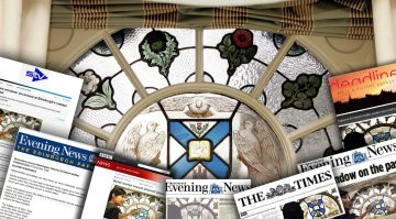 A montage of coverage about a recovered stained glass window found Fraser Suites Edinburgh secured by Hotel PR experts