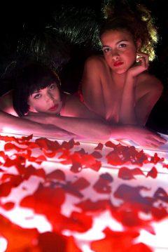 Hotel PR photograph of stunning models at Lulu's glamour launch located underneath Tigerlily, Edinburgh