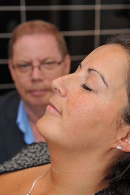 Hypnotherapist who helps calm nervous dental patients in dental PR photos