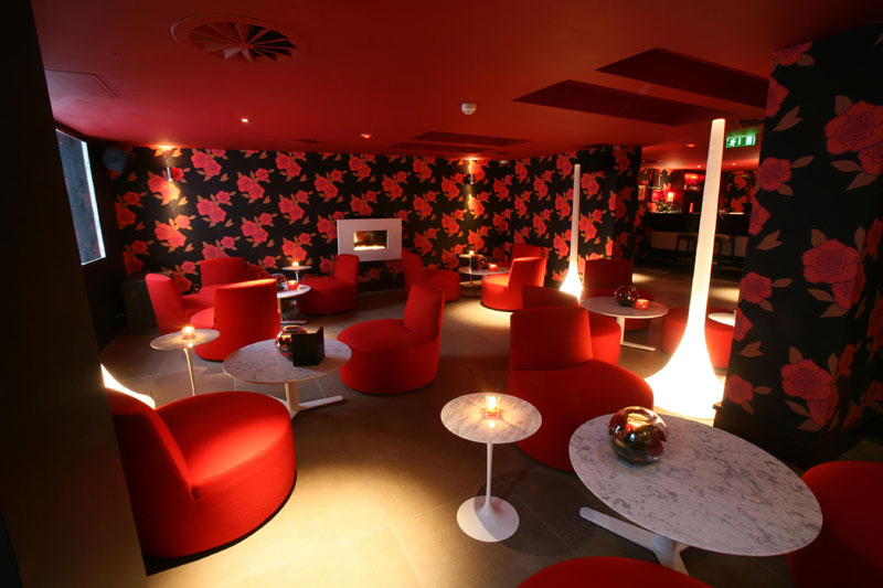Hospitality PR photograph of uber-chic and glamorous Lulu interior underneath Tigerlily, Edinburgh