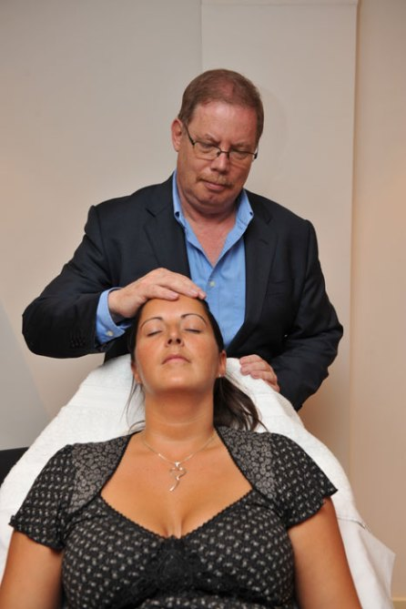 Hypnotherapist who helps calm nervous dental patients in dental PR photos