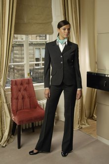 Designers at NKD Clothing were selected to design the front of house suit for leading hotel group Aston Hotel. Reflecting the Aston Hotel corporate colours of charcoal grey and mint green the NKD Clothing team opted for a Susa jacket with a flattering curved collar and tailored waist, Miranda boot cut trousers, a crisp white shirt and stylish neck scarf.