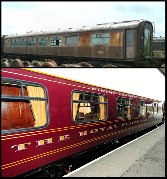 The Swift carriage of the Royal Scotsman train, lovingly restored during a two year labour of love