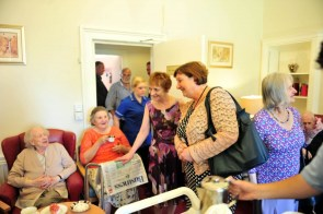 Annete Bruton, chief executive of the Care Inspectorate, meets residents at Astley House