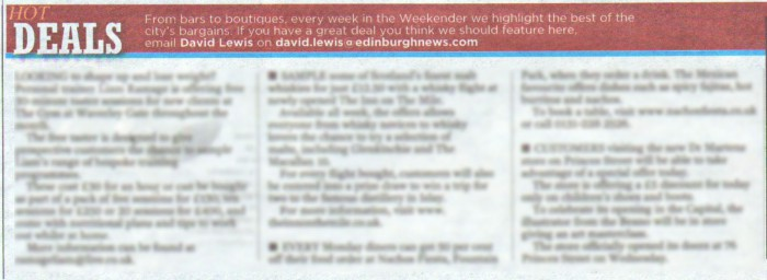 17 AUG Edinburgh Evening News Inn on Mile Hot Deals
