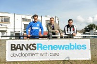 Banks Renewables director Colin Anderson, flanked by colleagues (L-R) Callum Whiteford and Ryan Newall