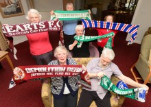 (back row from left) Helen Renton, Isabella Crawford, Doreen Allen. Middle - Cathrine Reid, Front from left - Muriel Poingdestre, John Young. Football fans to enjoy memories scheme.