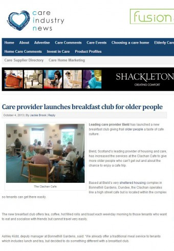 Clachan Cafe on Care Industry News