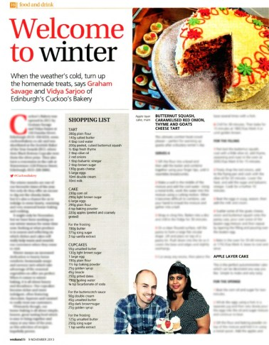 Cuckoo's Bakery has been featured in The Scotsman's Weekend Life supplement