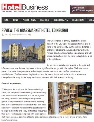 The Grassmarket Hotel in Edinburgh has been reviewed online by Hotel Magazine