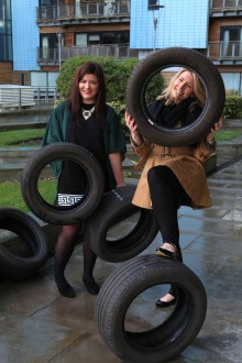 Photocall Blog- Heather and Melissa with tyres