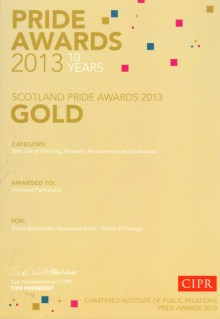 Gold PR award for best use of PR research, planning, measurement and evaluation was presented to public relations agency Holyrood PR