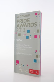 PR agency Holyrood Partnership collected a gold award for best use of PR measurement and evaluation in 2013
