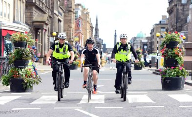 Scottish PR photography SBRC hacker cycling with police officers