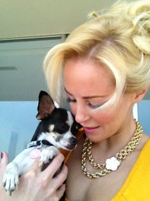 Hollywood actress Louise Linton with dog