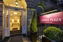Entrance of Crowne Plaza hotel in Edinburgh, Scotland captured in hotel PR photography