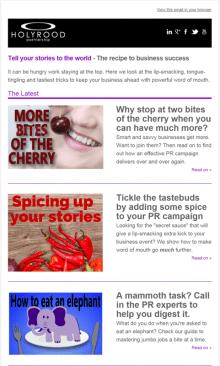 Edinburgh PR agency weekly newsletter