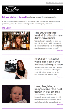 Holyrood PR in Edinburgh weekly round up of PR tips and news