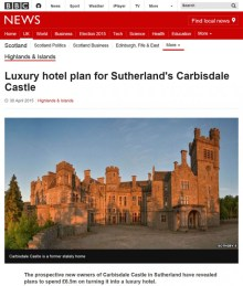 Luxury castle hits the press thanks to Edinburgh PR agency