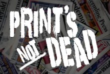 Print's Not Dead logo based on Punks Not Dead artwork