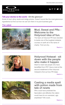 Holyrood PR Newsletter offers your maximum coverage
