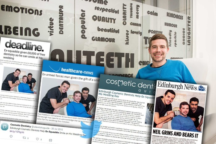 Ex-soldier Neil Raeburn is shown in a montage of coverage secured by Dental PR agency on his new smile donated by Edinburgh dental clinic, Vitaliteeth