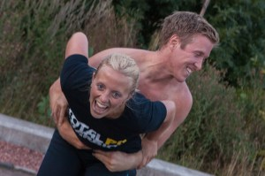 Chris Fairbairn lost the wrestling match with Katie Dennis for the last team Holyrood PR Total Warrior t-shirt