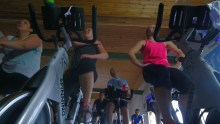 Staff from Holyrood PR leave behind public relations spin to tray a spin class