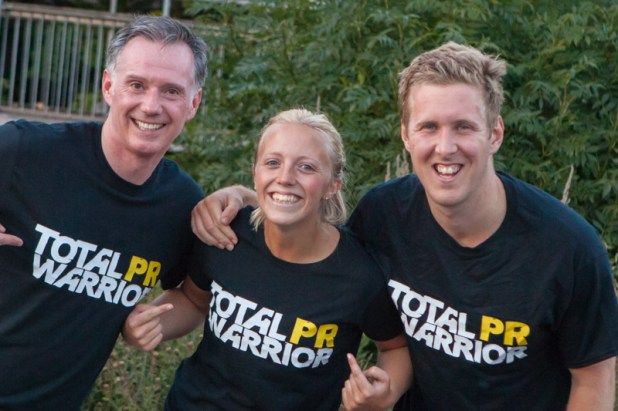 Scott, Katie and Chris show off the Total Warrior T-shirts