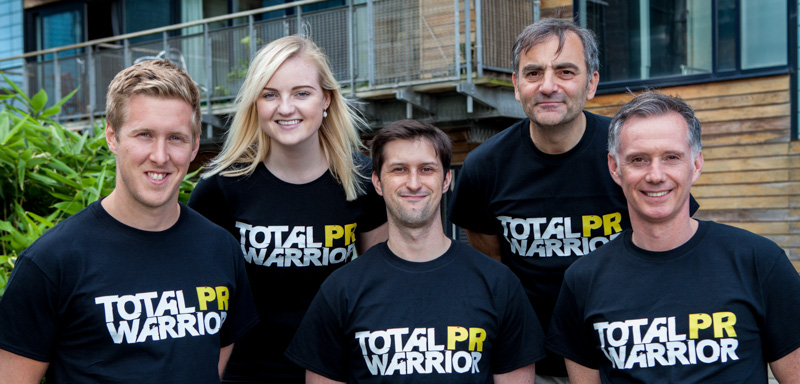 Back row, Xantha Leatham and Raymond Notarangelo. Front row Chris Fairbairn, Craig Sinclair and Scott Douglas. The Holyrood PR team sport customised T-shirts for the Total Warrior event.