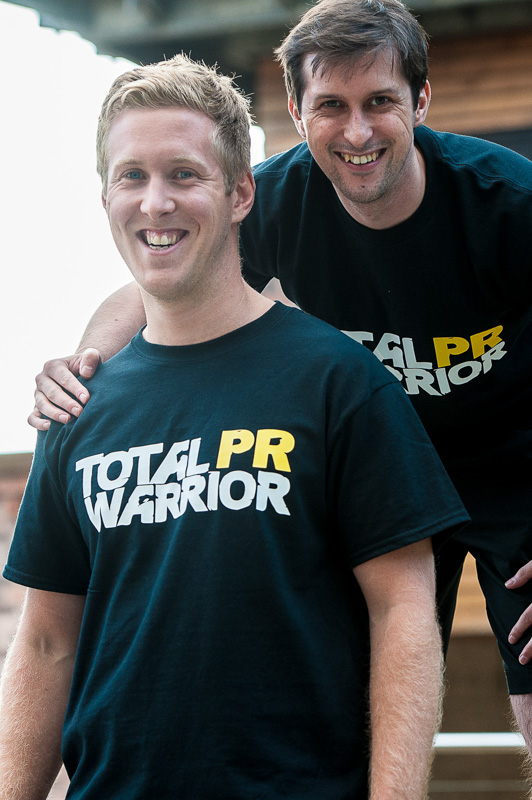 Chris Fairbairn and Craig Sinclair show of the Holyrood PR t-shirts for the Total Warrior challenge