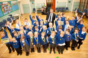 Pupils, accompanied by Myles Crossley, from medal sponsor, Banks Renewables, with their medals and certificates for reading, at Trinity Primary School, Hawick. (c) Wullie Marr/HOLYROOD PR For pic details, contact Wullie Marr........... 07989359845