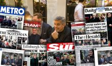 George Clooney in an image celebrating media coverage of the actor's visit to Edinburgh bar and restaurant, Tigerlil