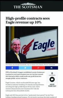 PR success for Eagle Couriers, thanks to public relations agency Holyrood PR in Edinburgh