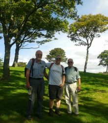 PR photograpy of three fundraisers hiking to raise funds for bield