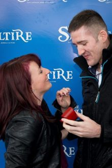 PR photo of a wedding proposal at Musselburgh Racecourse