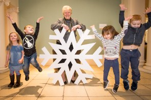 Kids with giant snowflake for Perth Winter Festival luanch