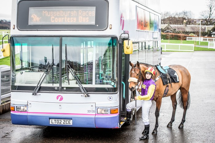 PR photography of Musselburgh Racecourse Double Decker Bus for New Years's Day visitors