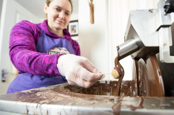 PR food and drink photos of Ros Milligan, chocolatier, making chocolate covered Brussel sprouts for the chocolate fair in Perth