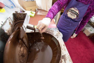 The production process of chocolate covered sprouts is captured and shared in a PR image