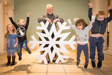 PR photography of Children witih a giant snowflake help launch Perth Winter Festival