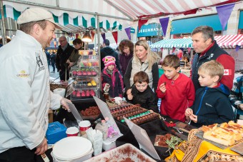 Sampling was very popular on the Chocolate Festival stalls.
