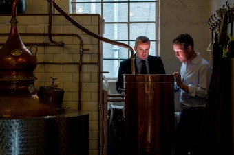 IN PIC................. Kevin Durnian (tie) of Thames water meets with new customer, Marcus Pickering, of Pickering's Gin in their Summerhall distillery, in Edinburgh. (c) Wullie Marr/HPR For pic details, contact Wullie Marr........... 07989359845