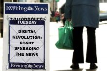 Newspaper billboard image to illustrate PR blog post about news in a digital age