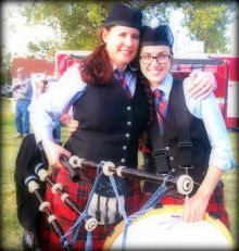 Piper Andi Gmble who donated her bagpipes to a Scottish charity