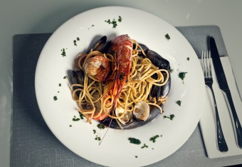 Food and drink PR photos of a king prawn pasta dish at Rigatonis in Edinburgh