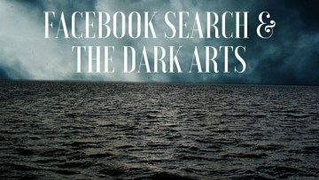 Dark Waters with text over, Facebook Search & The Dark Arts